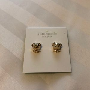 NWT Kate Spade gold puppy earrings